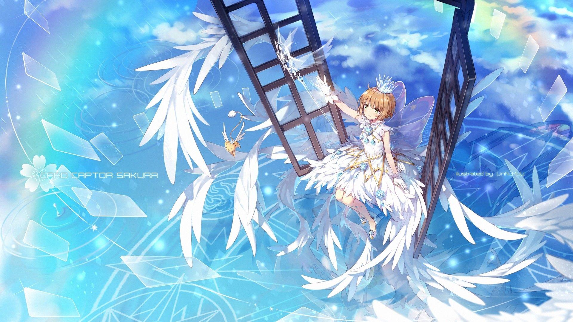 Kinomoto Sakura Cardcaptor Sakura Clear Card Hen Wings White Dress Cardcaptor Sakura Cardcaptor Sakura