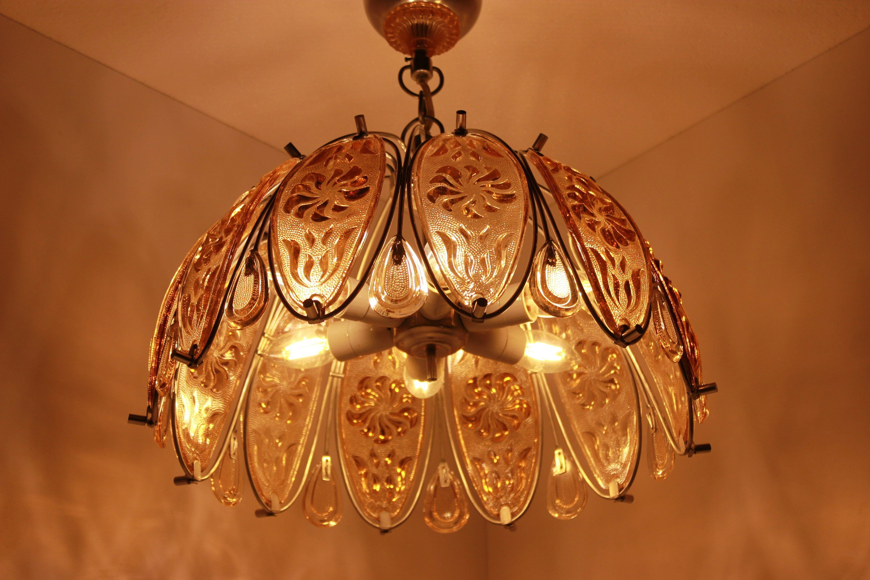 Crystal Glass Chandelier Lighting Mid Century Ceiling Hanging