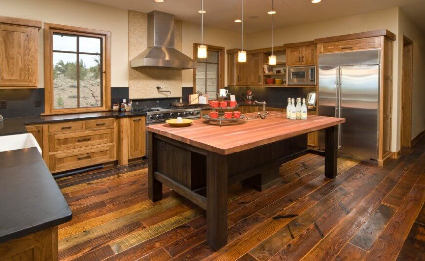 34 Kitchens With Dark Wood Floors Pictures Rustic Modern