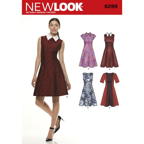 New Look Pattern 6299 Misses\' Dress with Neckline & Sleeve ...