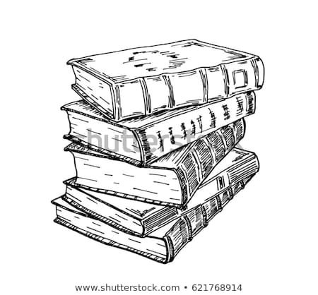 Stack of books isolated on white, Hand Drawn Sketch Vector ...