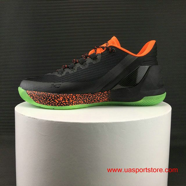 073ef7838e183 UA Under Armour Curry 3 Low Black Orange Green Bottom Basketball Shoes For  Men