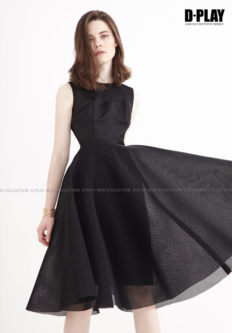 Black semipermeable yarn dress pleat skater net umbrella skirt high