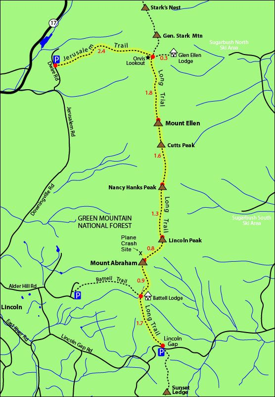 Mount Ellen Mount Abraham hike map long trail, jerusalem trail ...