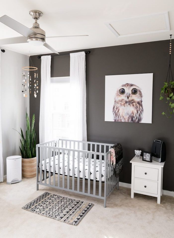 Dark Brown And White Walls Light Gray Crib With Bedding Gender Neutral Nursery