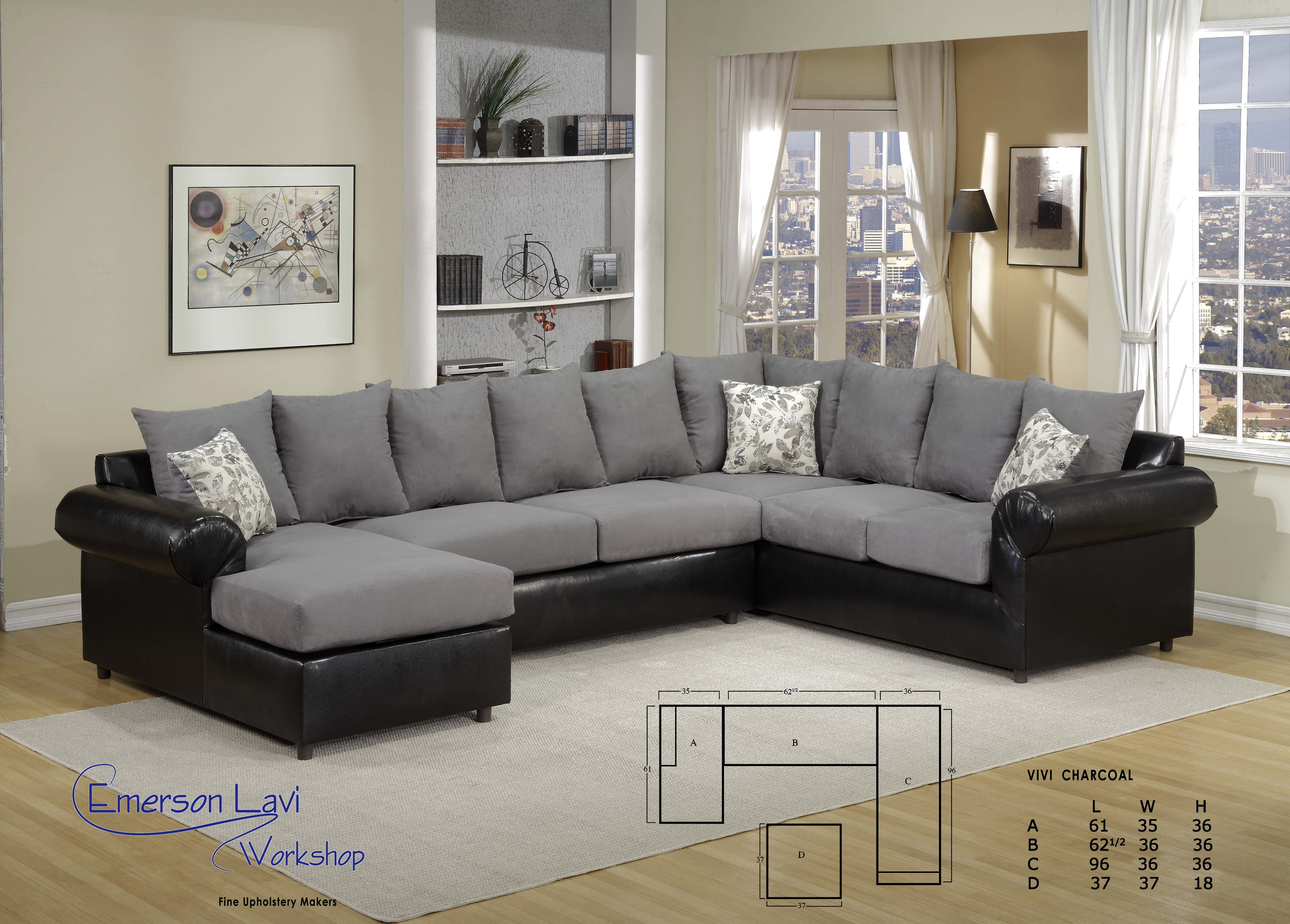 3 Pc Sectional In Two Tone Grey And Black Vivi Retail Price