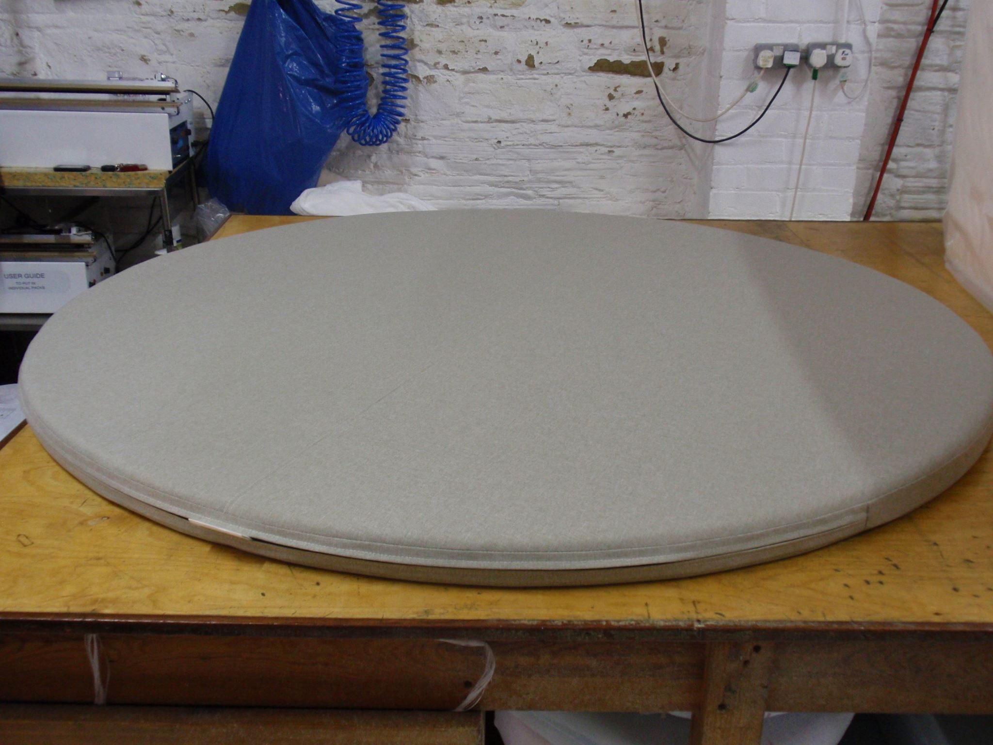 Lovely Large Round Foam Cushion In FFC Outdoor Fabric In Ecru Colour. Ideal For  Garden Seating