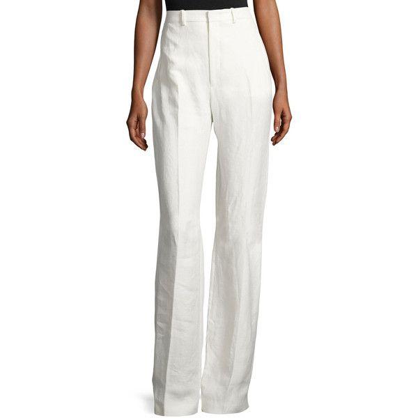 Joseph Woman Ferguson Linen-twill Wide-leg Pants Ivory Size 34 Joseph zgS1t