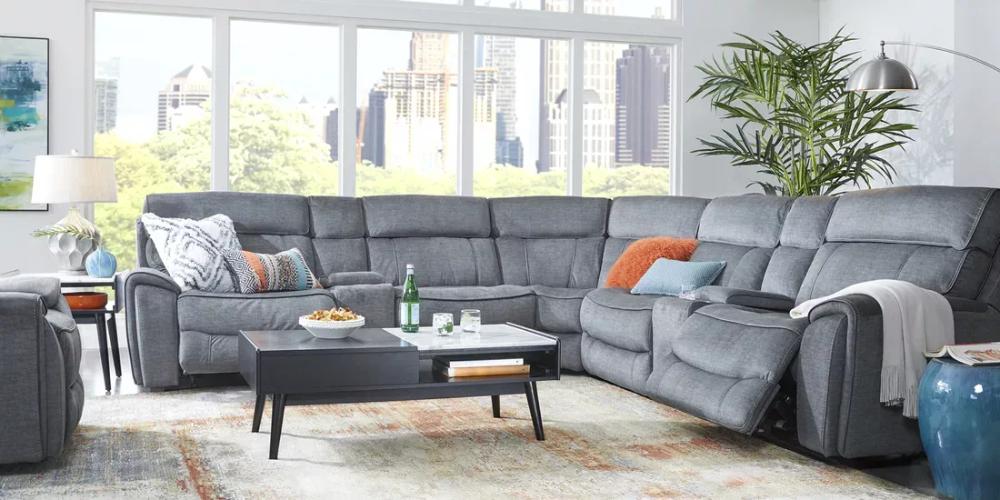 Hosford Dark Gray 7 Pc Reclining Sectional Living Room Sets Furniture Living Room Sectional Gray Sectional Living Room