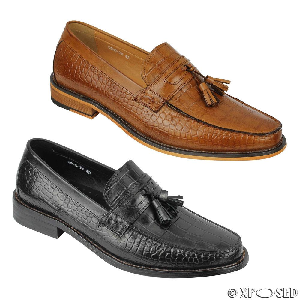 Xposed Mens Vintage Real Hand Woven Leather Boots Smart Casual Slip on Ankle Shoes Black Tan Brown