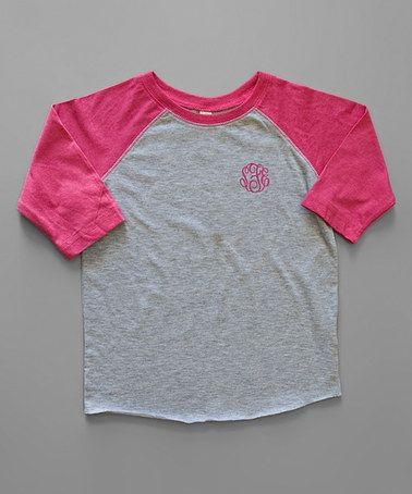 e9426fa8168 Loving this Heather   Hot Pink Monogram Raglan Tee - Toddler   Girls on   zulily!  zulilyfinds