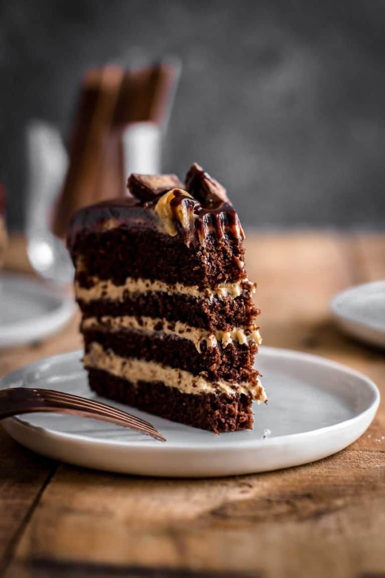 This Peanut Butter Chocolate Cake is soft, moist, and creamy. Peanut Butter Chocolate Cake Recipe by Also The Crumbs Please #peanutbutter #chocolate #cake #frosting #peanutbutterfrosting #chocolatecake #baking #dessert #sweet
