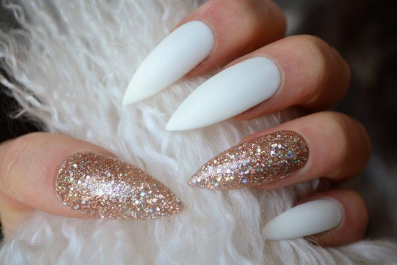 20 Best Pretty Nails Part15 Gold Acrylic Nails Fake Nails Glue On Nails