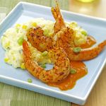 Smoked Paprika Shrimp with Poblano Polenta and Red Pepper Agave Sauce
