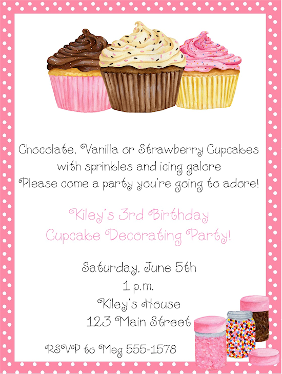 Cupcake Decorating Birthday Party Invitations