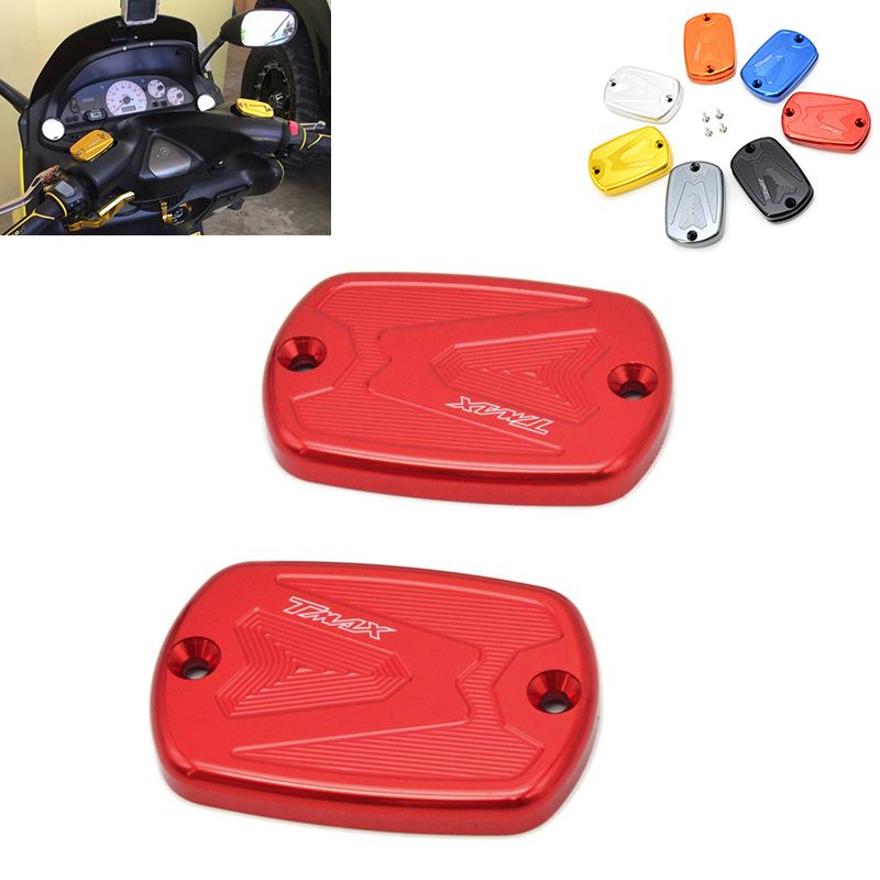 2 Pieces Aluminum Motorcycle Front Brake Reservoir Fluid Tank Cap Modified Accessory For Yamaha Tmax 530 2012 20 Motorcycle Accessories Brake Fluid Accessories