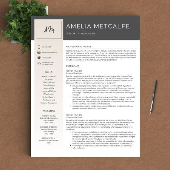 Creative Resume Template for Word & Pages | 1, 2 and 3 Page Resume ...