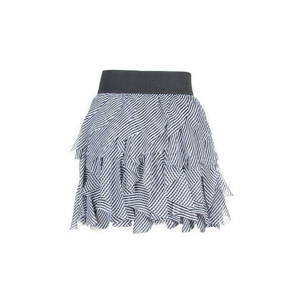 Stripe Skater Multi Tier Skirt ($8.39) ❤ liked on Polyvore featuring skirts, gonne, women, knee length skater skirt, pull on skirts, metropark, flared skirt and tiered skirt