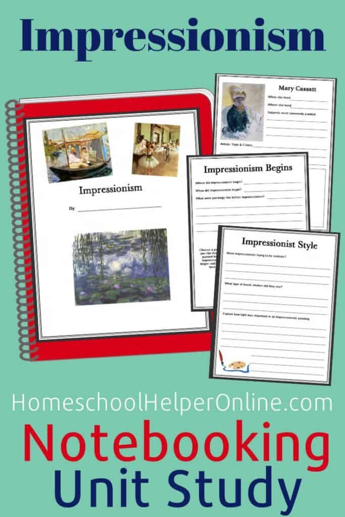 Photo of Impressionism Notebooking Unit Study – Homeschool Helper Online
