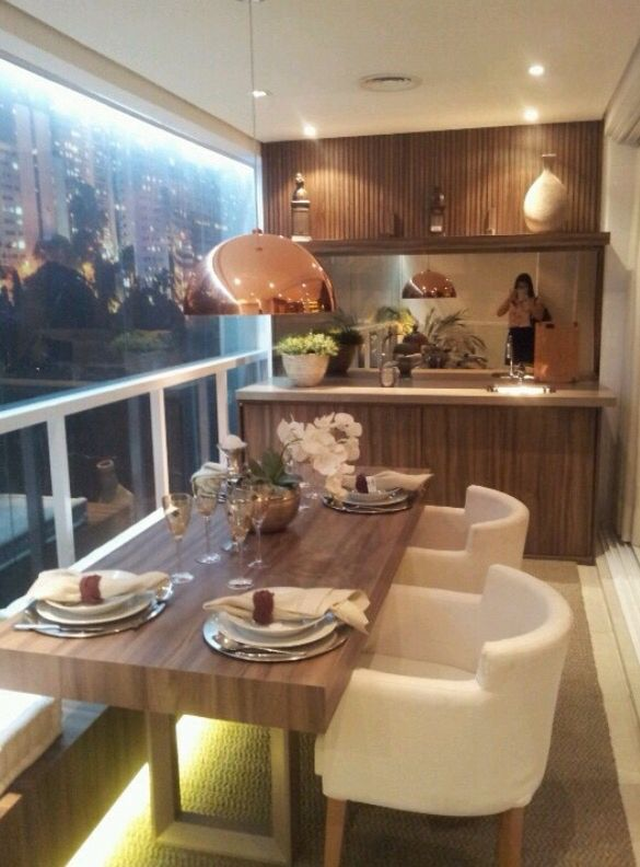 Transformed Apartment Veranda Into A Dining Space With Stunning City Mesmerizing Veranda Dining Rooms Exterior