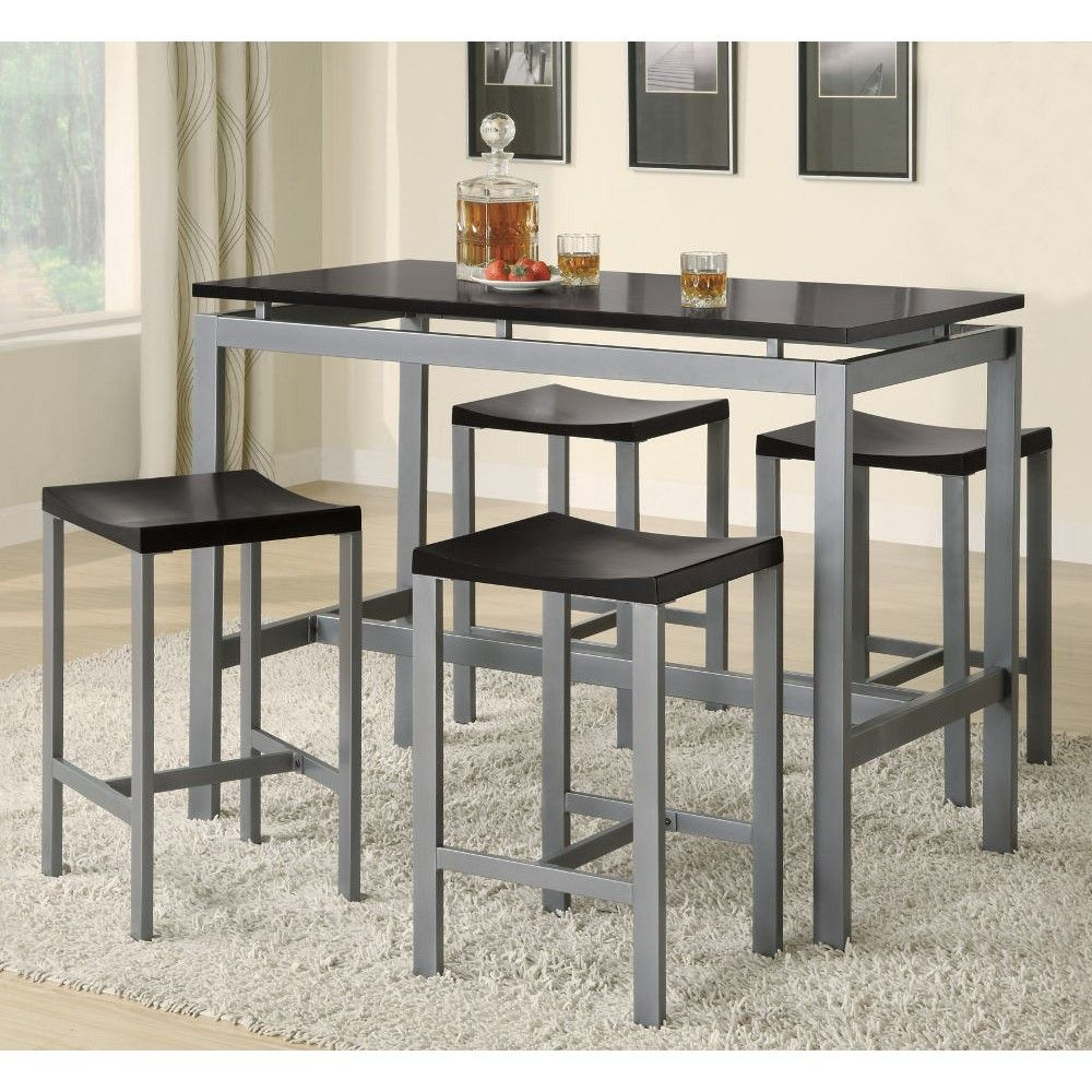Coaster Atlas Collection 5 Pc Counter Height Set In Black  Silver Enchanting Black And Silver Dining Room Set Design Decoration