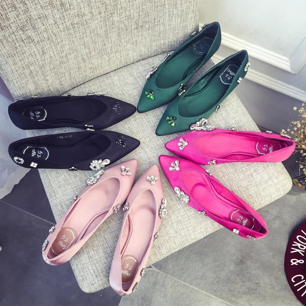 2016 Satin Shoes For Wedding Bridesmaid Crystals Flat Comfortable Prom