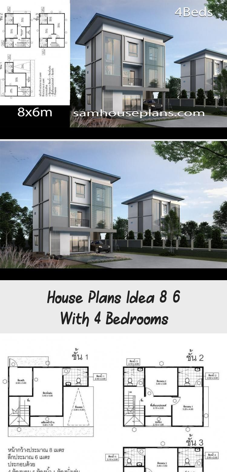 House Plans Idea 8x6 With 4 Bedrooms Sam House Plans Floorplans4bedroomwraparound Floorplans4bedroom25 In 2020 House Plans Floor Plan 4 Bedroom Modern Architecture