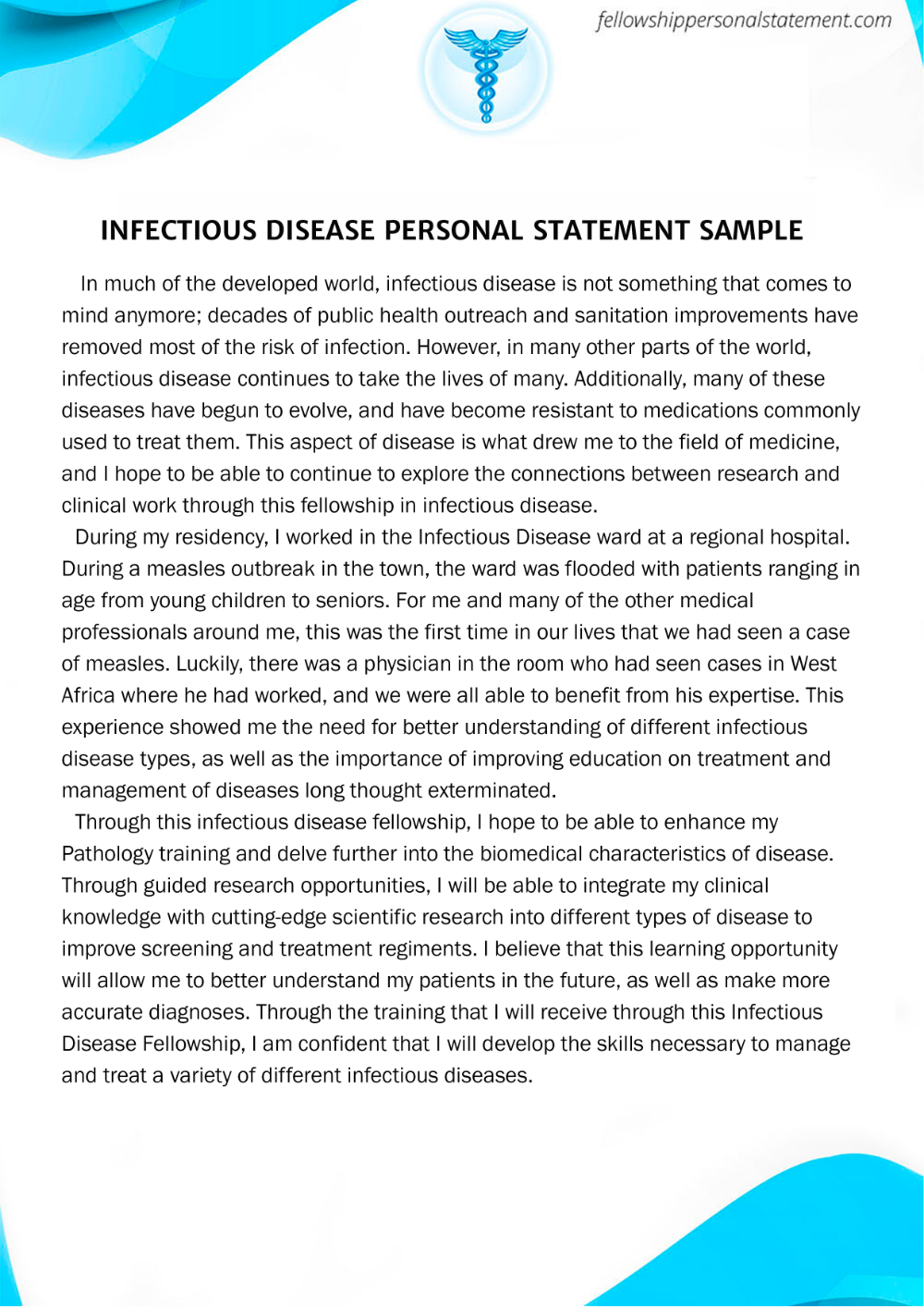 Infectiou Disease Personal Statement Sample Fellowship Editing Service