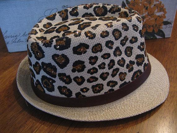 Wild LEOPARD SWAROVSKI Summer Straw Fedora-Sexy Animal Print Hat-Island  Wear-Poolside Hat-Bridal Sho a91898d39f28