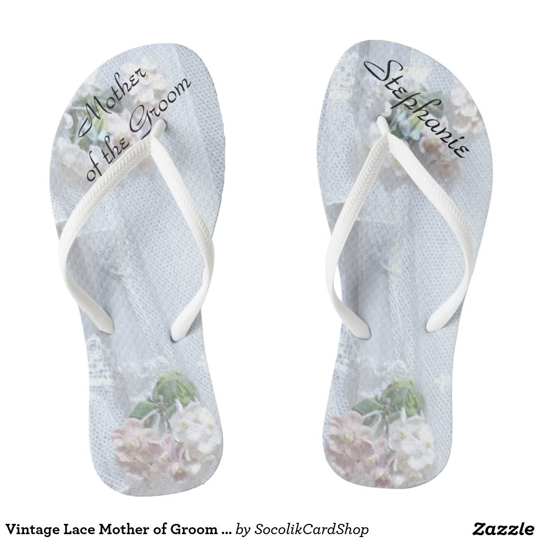 e3014643f1cf Vintage Lace Mother of Groom Wedding Flip Flops This Vintage Lace design  personalized