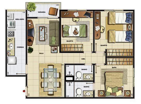 Plantas de casas modernas 3 quartos house for Casas de planta baja modernas