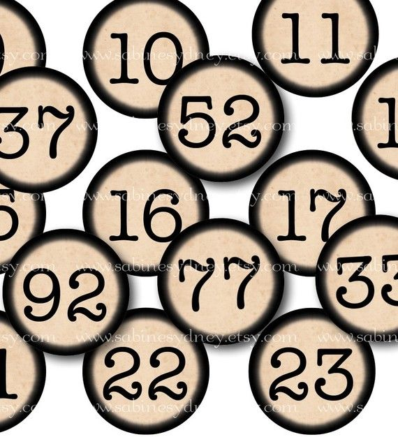Vintage Typewriter Numbers 1 Inch Circles 2 Digital by ImageArts