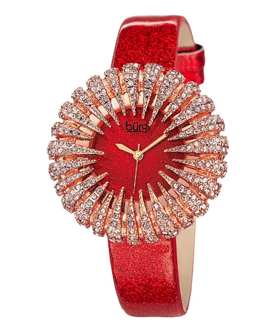 Look what I found on #zulily! Red & Rose Gold Flower Crystal Watch by Bürgi #zulilyfinds