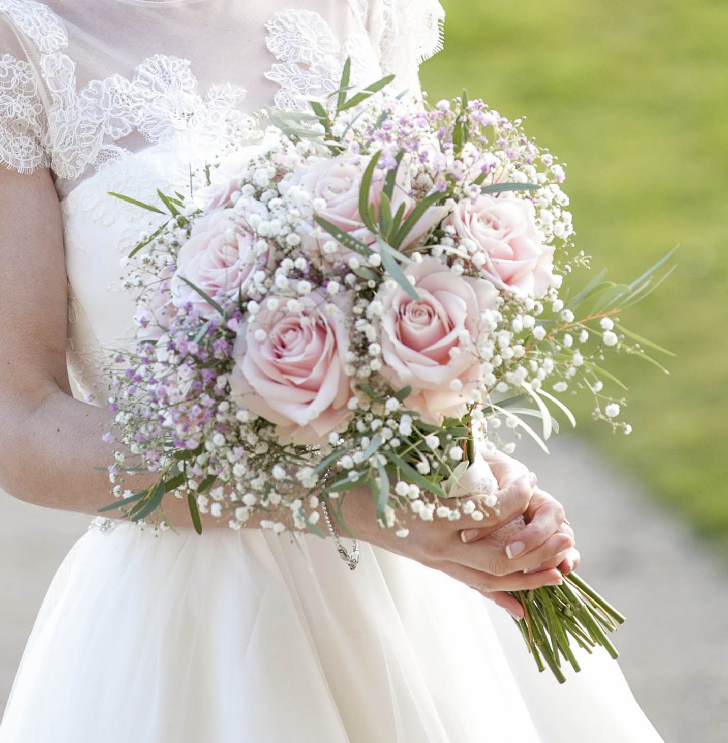 Wedding Bouquet. Rose And Gypsophila Bouquet. Pink Roses