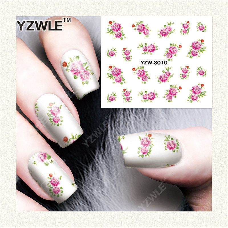 Yzwle 1 Sheet Diy Decals Nails Art Water Transfer Printing Stickers Accessories For Salon Yzw