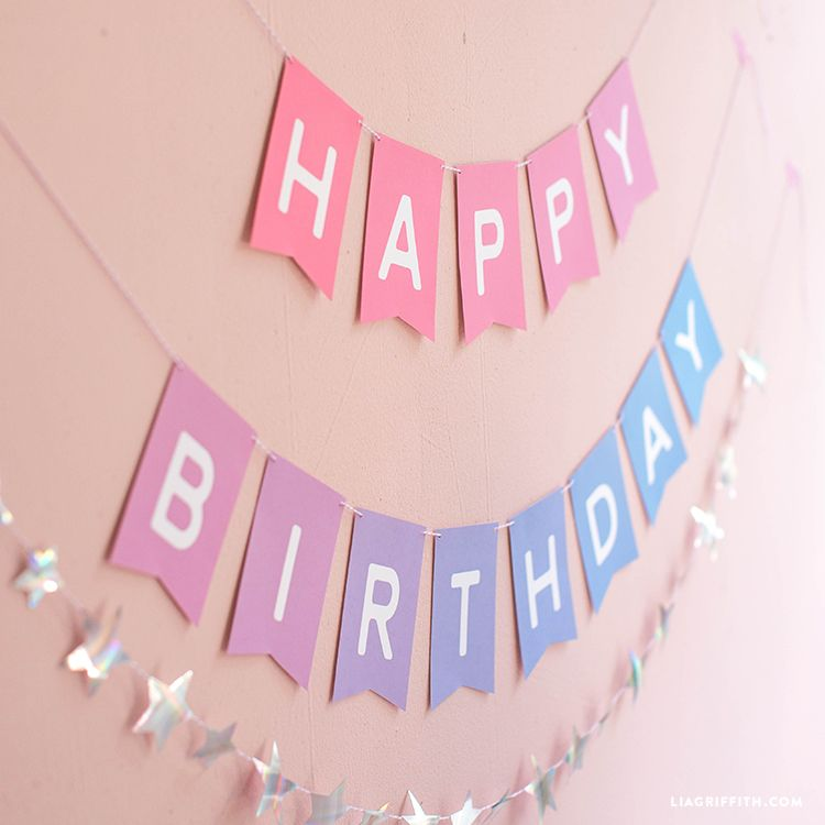 Download And Assemble An Ombre Printable Birthday Banner In 2020 Happy Birthday Banner Printable Free Birthday Banner Free Printable Birthday Banner Template
