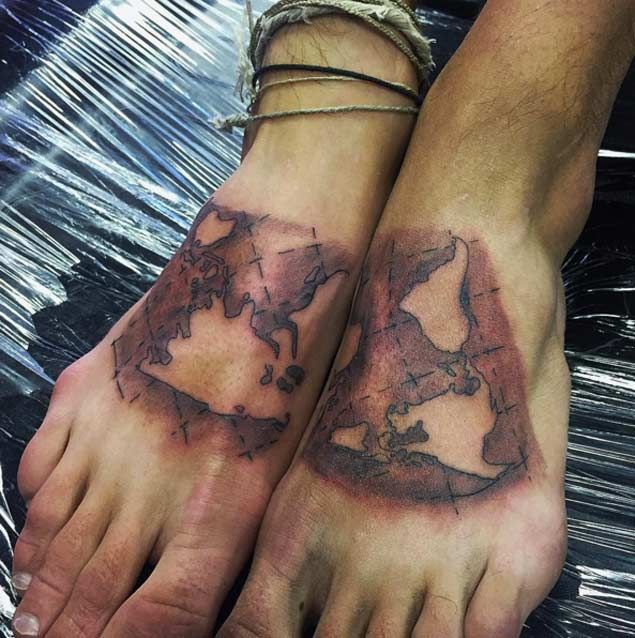 40 world map tattoos that will ignite your inner travel bug map old world map tattoo by ivan anglin gumiabroncs Gallery