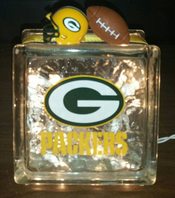 Green bay packers lighted glass block nightlight by for Glass blocks for crafts lowes