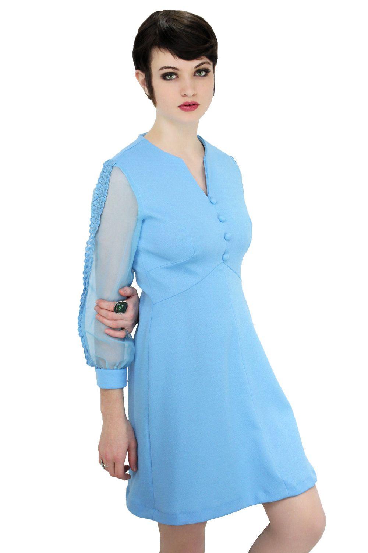 60s MOD Formal Dress 1960s Empire Waist Vintage Mad Men Blue With ...