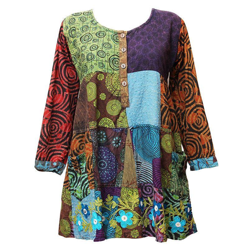 12edef7f8d Gringo Patchwork Smock Dress with Pockets
