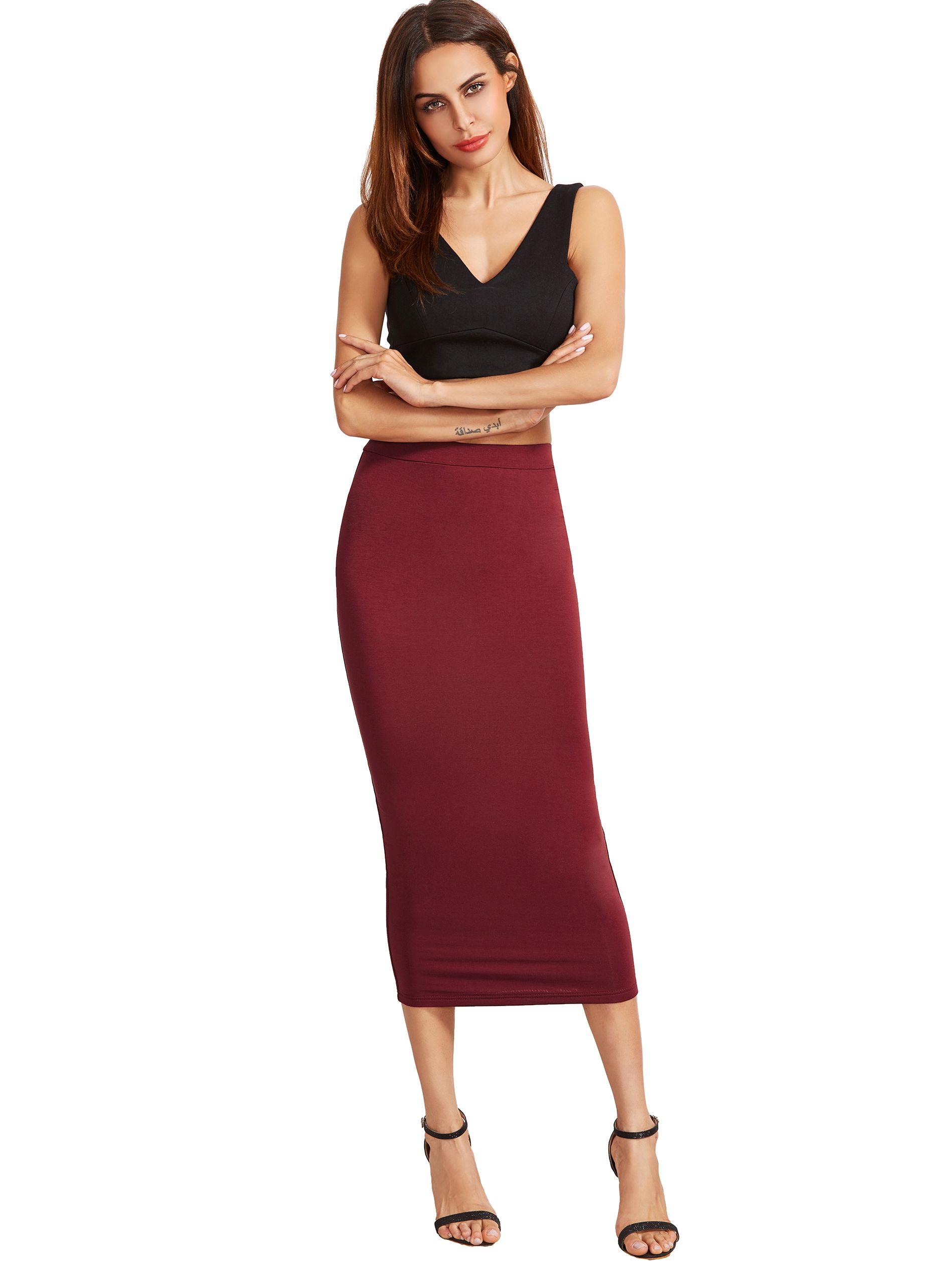 99c0d12065 Burgundy High Waist Sheath Skirt -SheIn(Sheinside) | :: >> Just ...