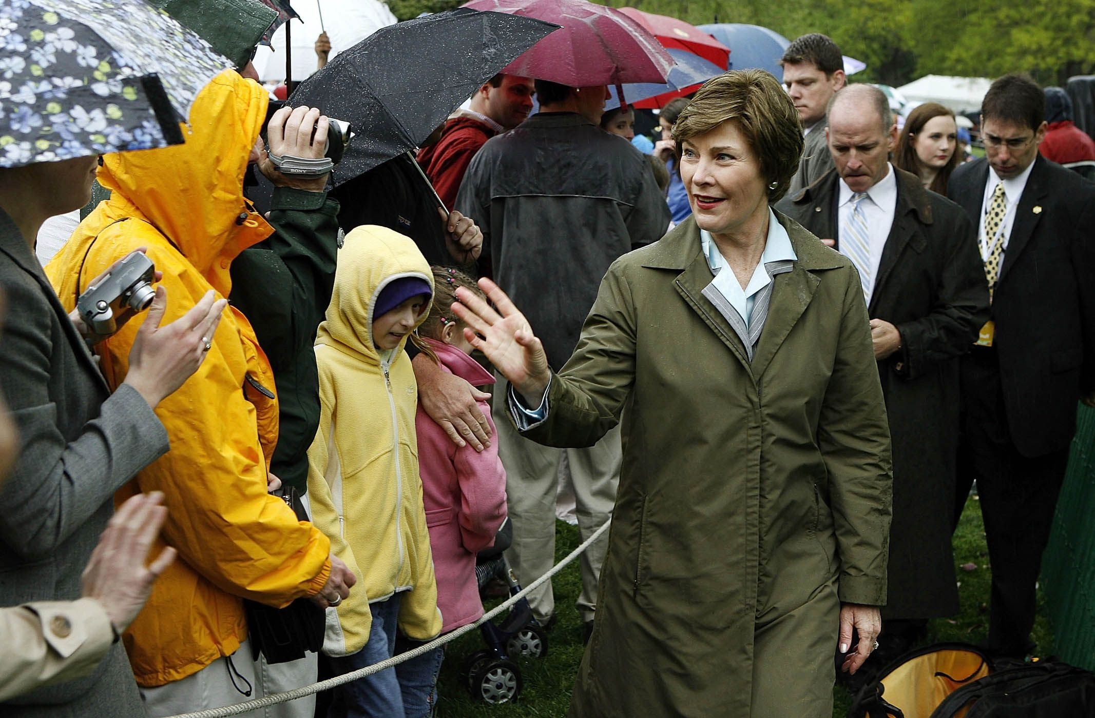 First Lady Laura Bush Bids Farewell To Visitors During The Annual