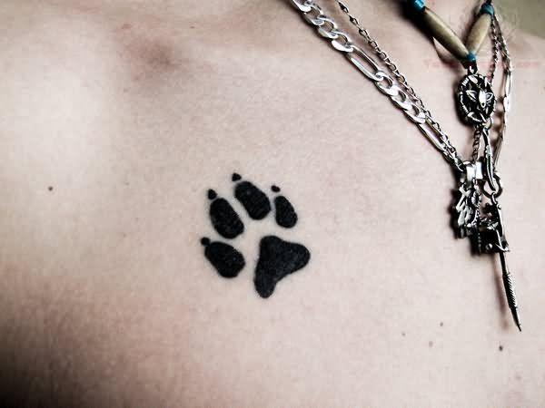 Jaguar Paw Print Tattoo On Chest