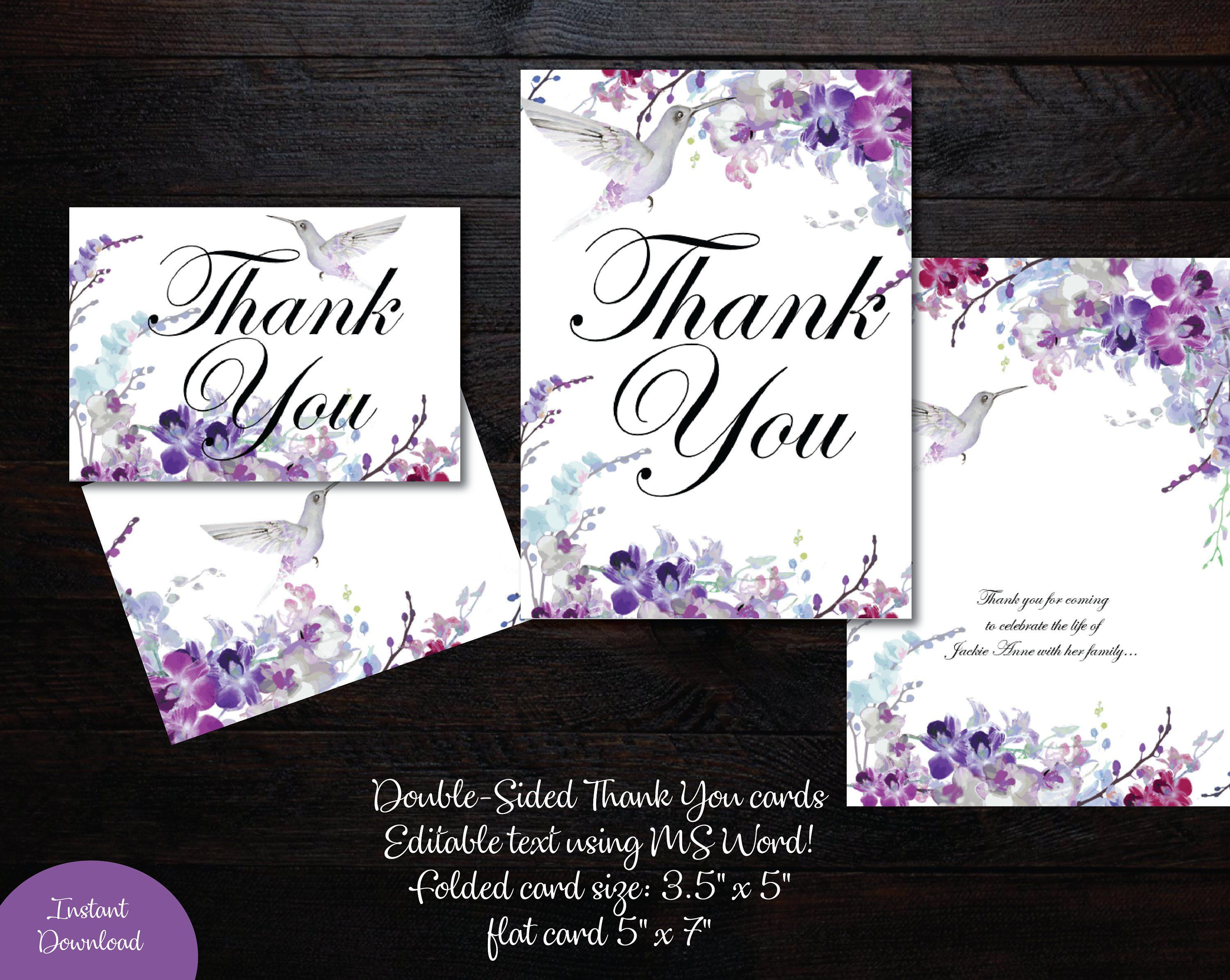 Thank You Card 5x7 Flat And Folded 3 5 X 5 Memorial Thank You Wedding Thank You Card Purple O Photo Thank You Cards Funeral Thank You Cards Diy Guest Book