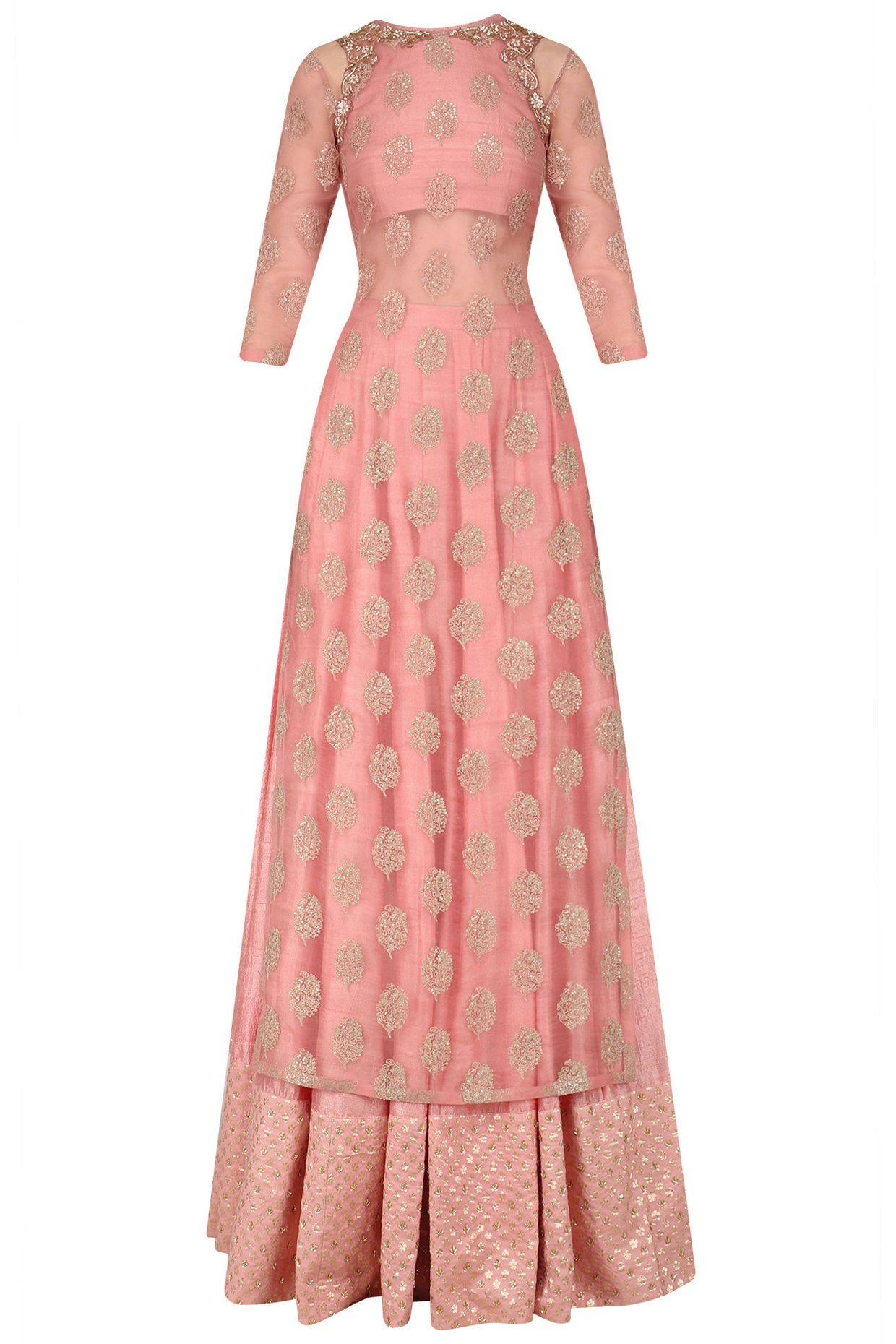 Dusty pink embroidered kurta lehenga set available only at Pernia\'s ...
