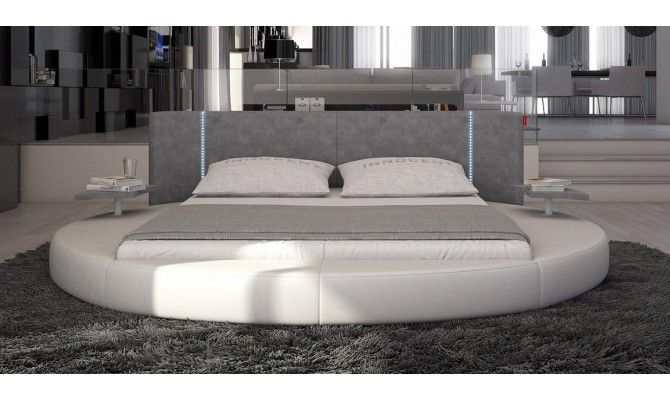 Modern Eco Leather Bed With Led Lights California King Size