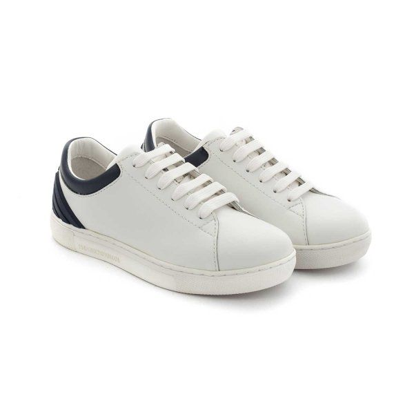 3c786111501d2 ARMANI JUNIOR - SNEAKERS LOGO BAMBINO TEEN Esclusive  sneakers bianche con  logo sul retro firmate