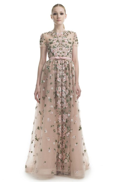 Floral Embroidered Short Sleeve Evening Gown by Valentino.... So I ...