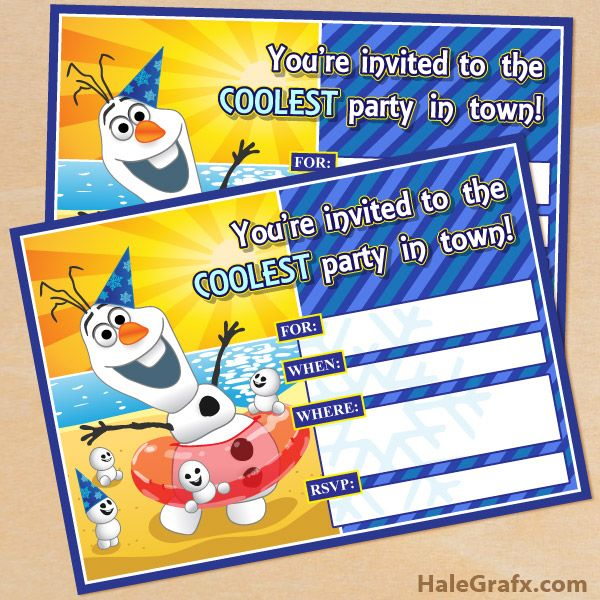 FREE Printable Frozen Olaf Birthday Party Invitations Disney