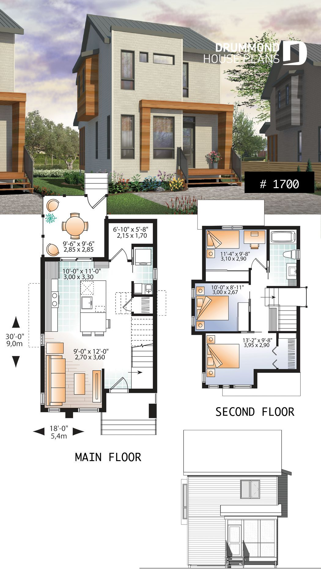 Comfortable & small 976 sq.ft. tiny house plan, 3 bedrooms, open ...